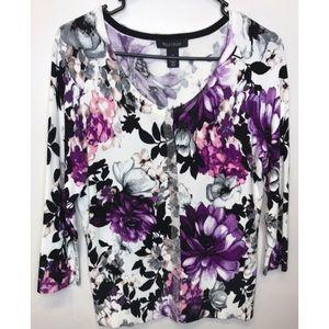 White House Black Market Floral Cardigan Sz M WHBM